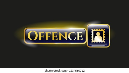 Golden badge with picture icon and Offence text inside
