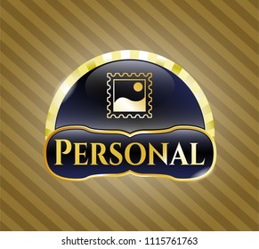 Golden badge with picture icon and Personal text inside