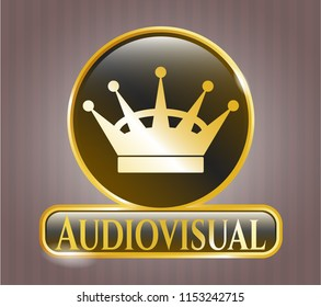 Golden badge with queen crown icon and Audiovisual text inside
