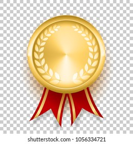 Golden badge with red glossy ribbon and laurel wreath. Gold realistic medal. Isolated on transparent background. Modern style gold stripes premium quality metal blinding dazzling shine. shiny design
