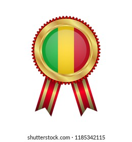 Golden badge with red ribbon and Mali flag.Mali premium quality.Gold frame.