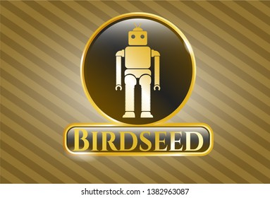 Golden badge with robot icon and Birdseed text inside