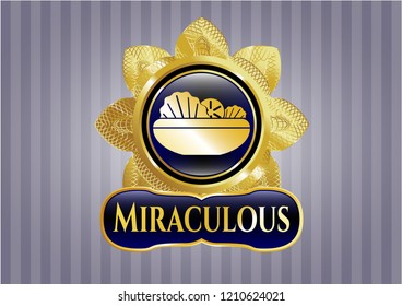 Golden badge with salad icon and Miraculous text inside