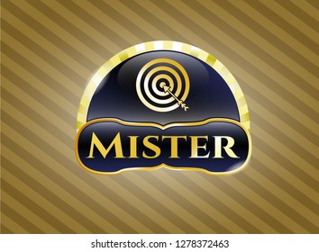 Golden badge with target, business icon and Mister text inside