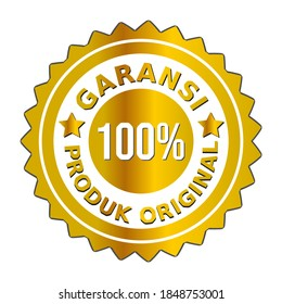 "The golden badge vector guarantees the original product is 100 percent HD in Indonesian.  ini bahasa : ""Vektor lencana emas menjamin produk asli 100 persen HD"""