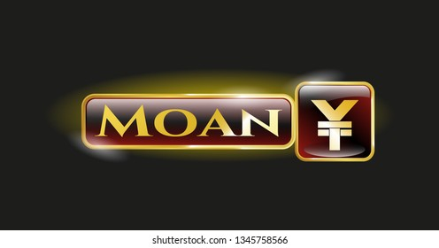Golden badge with yuan icon and Moan text inside