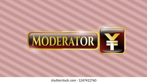 Golden badge with yuan icon and Moderator text inside