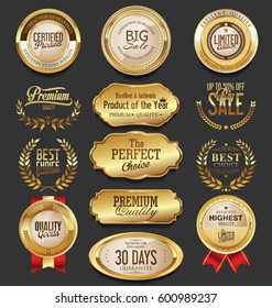 Golden badges and labels collection