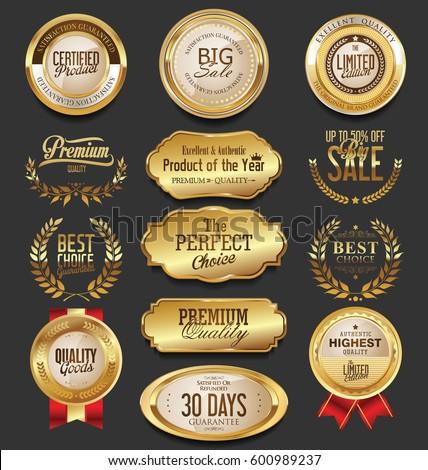 golden badges labels collection stock vektorgrafik lizenzfrei 600989237 shutterstock. Black Bedroom Furniture Sets. Home Design Ideas