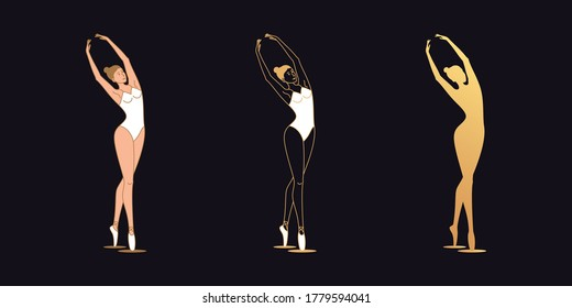 Golden ballerina woman in outline style. Set of silhouette, Ballet dancer leans slightly aside with arms raised above the head. Ballet posture, posing, dance performance. Vector illustration