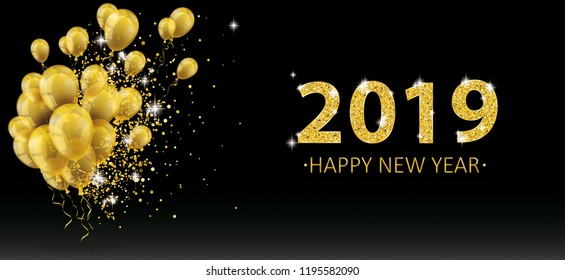 Golden balloons and golden particles on the black background for the New Year 2019. Eps 10 vector file.