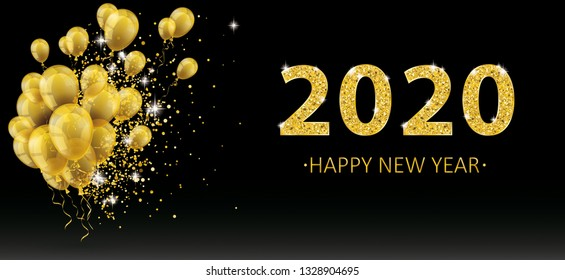 Golden balloons and golden particles on the black background for the New Year 2020. Eps 10 vector file.