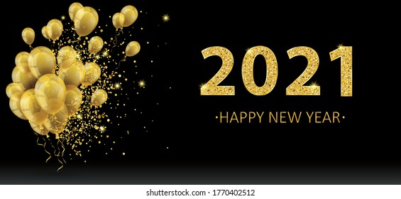 Golden balloons and golden particles on the black background for the New Year 2021. Eps 10 vector file.