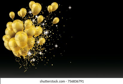 Golden balloons and golden particles on the black background. Eps 10 vector file.