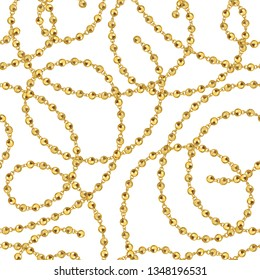 Golden balls chains isolated on white background. Seamless jewelry vector pattern