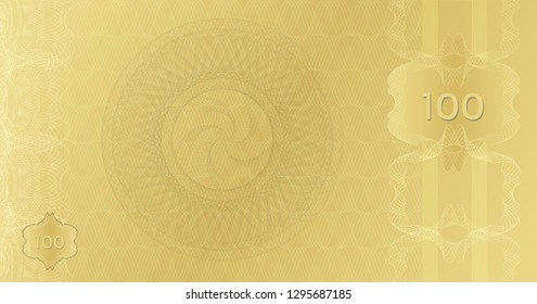 Golden Banknote template 100 with guilloche pattern watermarks border. Expensive Gift certificate Voucher. Background usable for coupon, banknote, money design, currency, note, check. Vector in gold