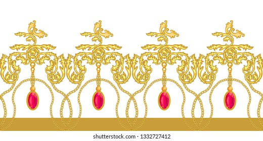 Golden baroque border with gems. Realistic scrolls, chains, rubins and other decorative elements on white background. Vintage design collection.