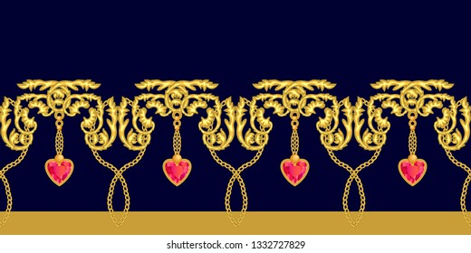 Golden baroque border with gems. Realistic scrolls, chains, rubins and other decorative elements on black background. Vintage design collection.