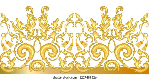 Golden baroque border. Realistic scrolls, leaves, curtain brishes and other decorative elements on  white background. Vintage design collection.