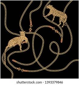golden baroque chain design vector
