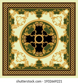 Golden baroque element with chains on a green background. EPS10 Illustration.