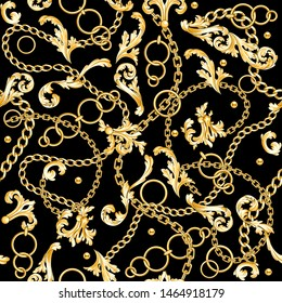Golden baroque elements flourishes and chains mixed on black background. Seamless pattern. Fashion print.