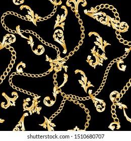 Golden baroque elements flourishes and chains on black background. Dark seamless pattern