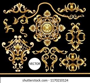 Golden baroque elements isolated. Vector illustration.