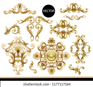 Golden baroque elements isolated. Vector