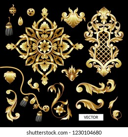 Golden baroque and knotting elements isolated.