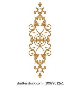 Golden baroque vector of vintage element for design. Decorative design element filigree calligraphy vector.