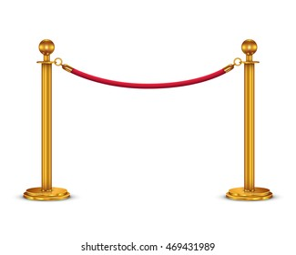 Golden barricade with red rope isolated on white background