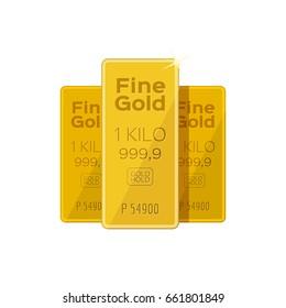 Golden Bars, Flat, isolated on white background