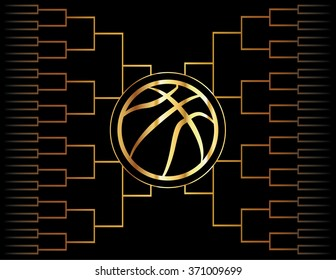 A golden basketball icon over a gold colored tournament bracket. Vector EPS 10 available.