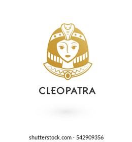 golden beautiful cleopatra logo illustration