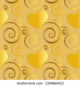 golden beautiful seamless pattern tile with hearts and flourish designs for festive surface designs, textiles, fabric, backgrounds, wrapping paper, gift cards, invitations, weddings and wallpapers