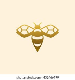 Golden bee logo. Business symbol. Vector illustration.