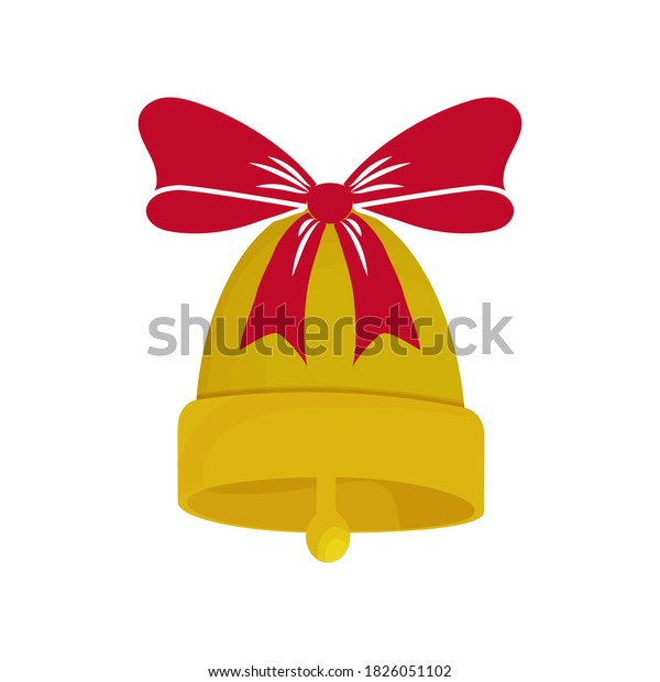 Golden bell with bow, red Christmas ribbon stylish isolated on white background. Holiday decorations, bauble.