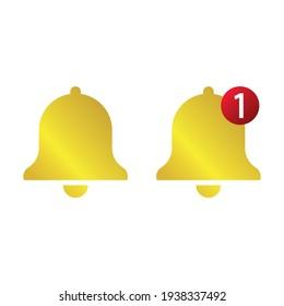 Golden Bell flat vector icon