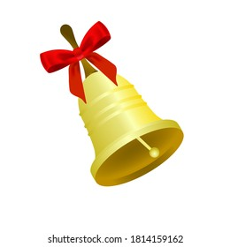 Golden bell with a bell handle with a beautiful red bow, vector illustration on a white background