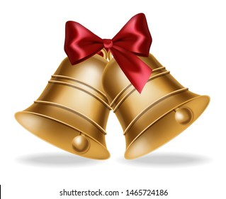 Golden bell Vector realistic isolated on white. Red silk bow illustration 3d