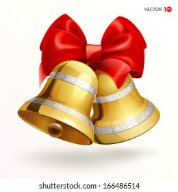 Golden bells with red ribbon on white background . Vector illustration. Eps 10.