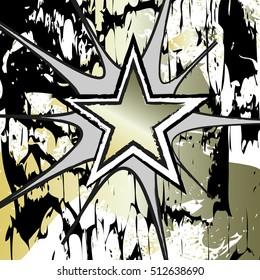 Golden Beryl colored rock n roll grunge star vector background