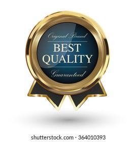 Golden Best Quality Badge. Vector illustration.