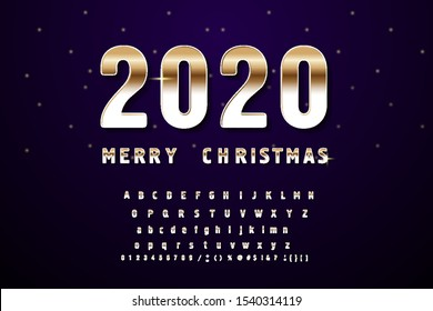 Golden Beveled Font. Vector Alphabet. Gold effect letters, numbers and punctuation marks on a dark background. Typeset for your headlines, posters etc.