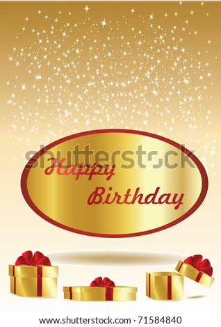 Golden Birthday Card Stock Vector Royalty Free 71584840 Shutterstock