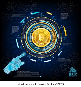 Golden bit coin in center of round high tech futuristic info graphic on blue background