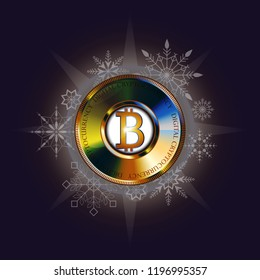 Golden bitcoin banner for Christmas and New Year. Digital Cryptocurrency. Vector. Technology style background and digital money.