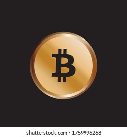 Golden bitcoin coin. Crypto currency golden coin bitcoin symbol isolated on black background. Futuristic digital money, vector illustration.
