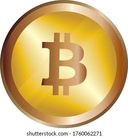 Golden bitcoin coin. Crypto currency golden coin bitcoin symbol isolated on white background. Futuristic digital money, vector illustration.